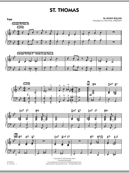 Michael Sweeney St. Thomas - Piano sheet music preview music notes and score for Jazz Ensemble including 3 page(s)