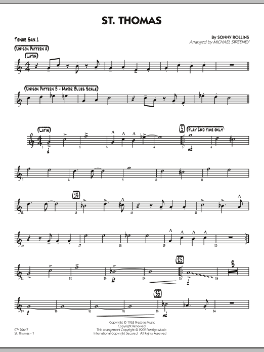 Michael Sweeney St. Thomas - Tenor Sax 1 sheet music preview music notes and score for Jazz Ensemble including 2 page(s)