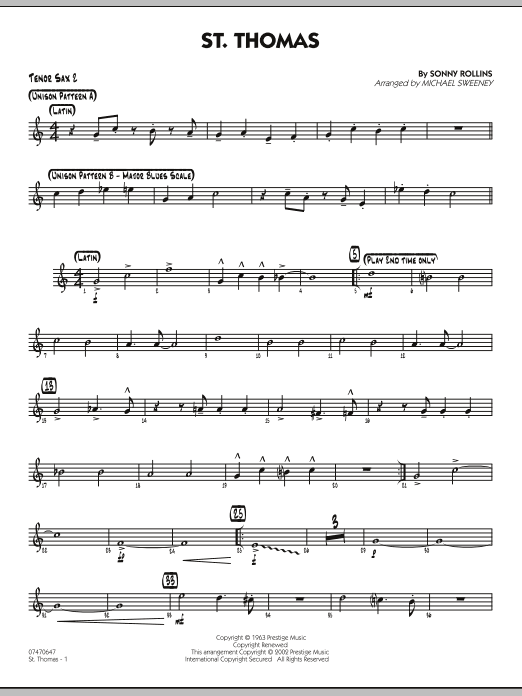 Michael Sweeney St. Thomas - Tenor Sax 2 sheet music preview music notes and score for Jazz Ensemble including 2 page(s)