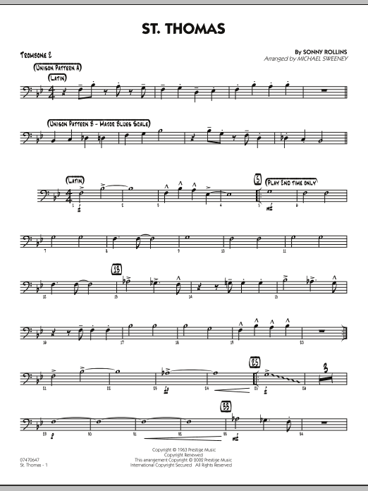 Michael Sweeney St. Thomas - Trombone 2 sheet music preview music notes and score for Jazz Ensemble including 2 page(s)
