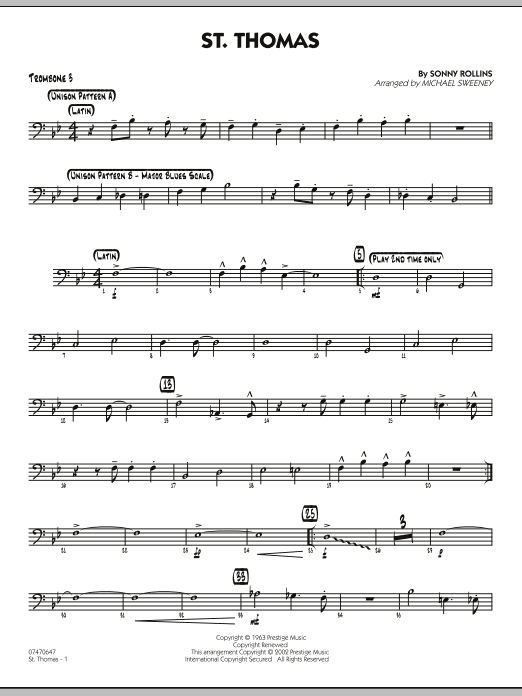 Michael Sweeney St. Thomas - Trombone 3 sheet music preview music notes and score for Jazz Ensemble including 2 page(s)