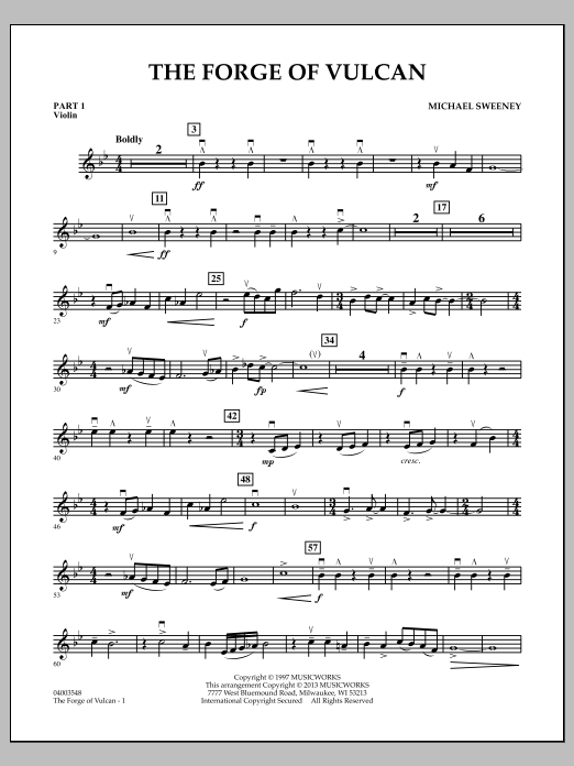Michael Sweeney The Forge of Vulcan - Pt.1 - Violin sheet music notes and chords