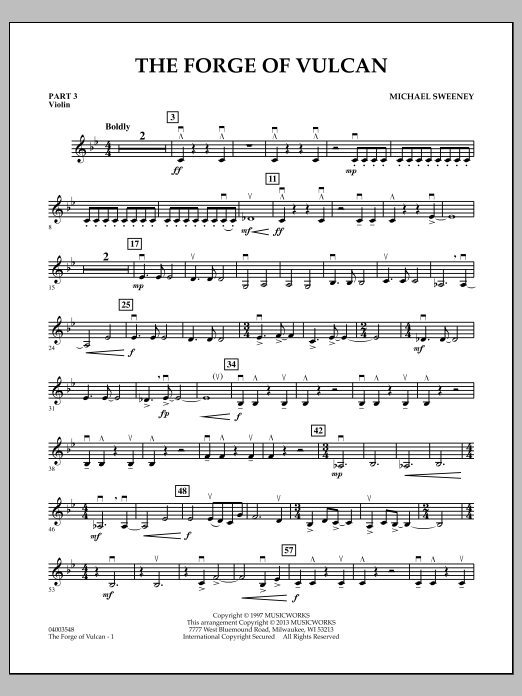 Michael Sweeney The Forge of Vulcan - Pt.3 - Violin sheet music notes and chords