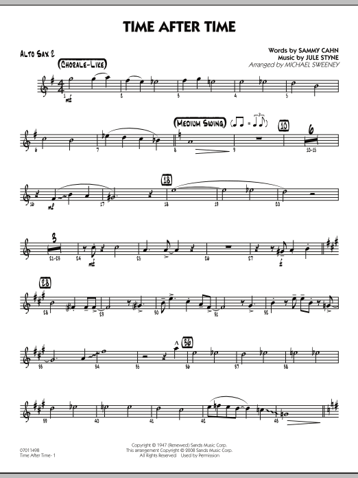 Michael Sweeney Time After Time - Alto Sax 2 sheet music preview music notes and score for Jazz Ensemble including 2 page(s)