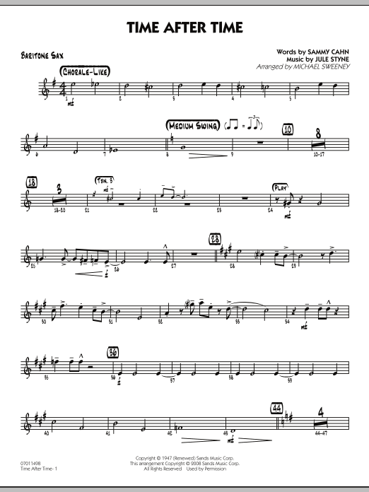 Michael Sweeney Time After Time - Baritone Sax sheet music preview music notes and score for Jazz Ensemble including 2 page(s)
