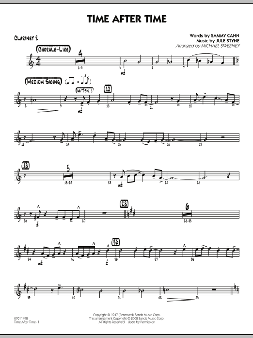 Michael Sweeney Time After Time - Bb Clarinet 2 sheet music preview music notes and score for Jazz Ensemble including 2 page(s)