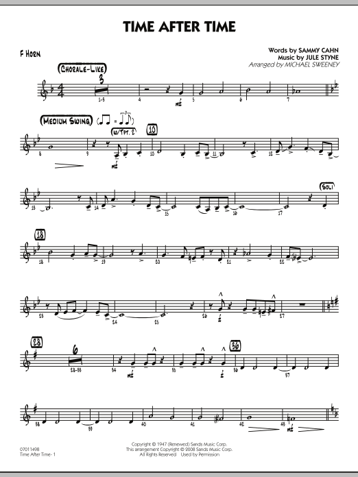 Michael Sweeney Time After Time - F Horn sheet music preview music notes and score for Jazz Ensemble including 2 page(s)