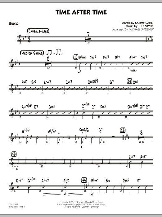 Michael Sweeney Time After Time - Guitar sheet music preview music notes and score for Jazz Ensemble including 2 page(s)