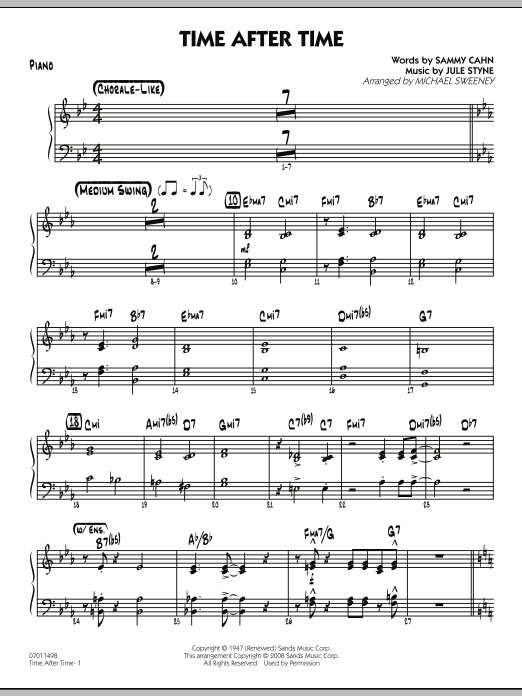 Michael Sweeney Time After Time - Piano sheet music preview music notes and score for Jazz Ensemble including 2 page(s)