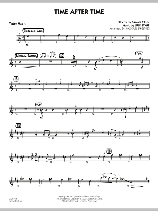 Michael Sweeney Time After Time - Tenor Sax 1 sheet music preview music notes and score for Jazz Ensemble including 2 page(s)
