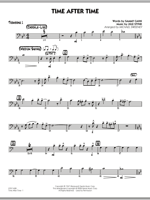 Michael Sweeney Time After Time - Trombone 1 sheet music preview music notes and score for Jazz Ensemble including 2 page(s)
