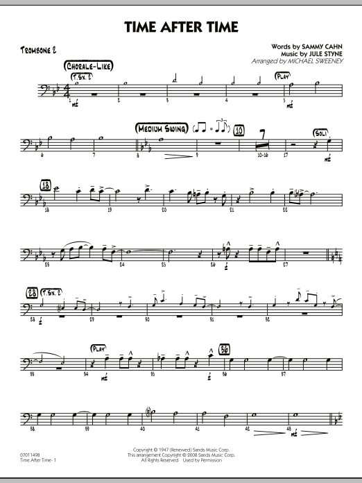 Michael Sweeney Time After Time - Trombone 2 sheet music preview music notes and score for Jazz Ensemble including 2 page(s)
