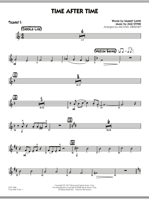 Michael Sweeney Time After Time - Trumpet 3 sheet music preview music notes and score for Jazz Ensemble including 2 page(s)