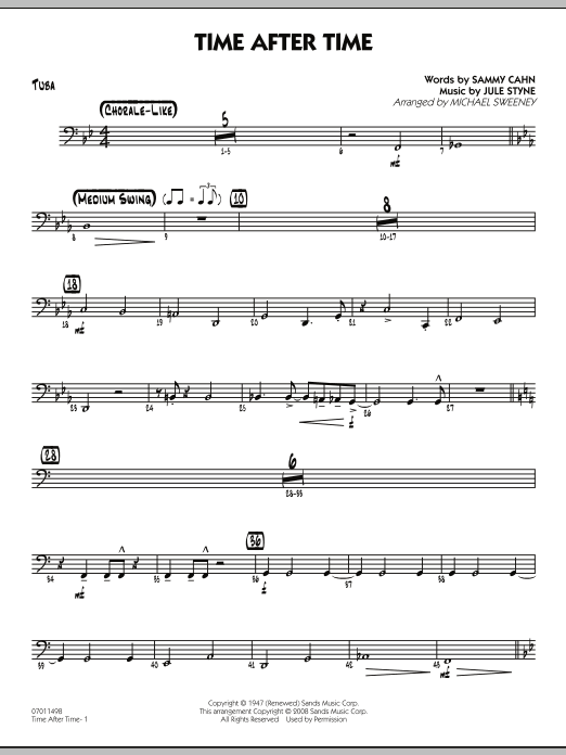 Michael Sweeney Time After Time - Tuba sheet music preview music notes and score for Jazz Ensemble including 2 page(s)