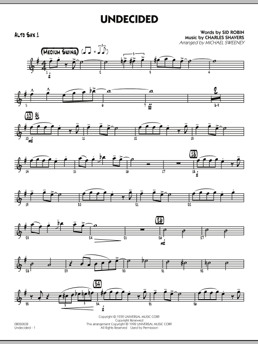 Michael Sweeney Undecided - Alto Sax 1 sheet music preview music notes and score for Jazz Ensemble including 2 page(s)