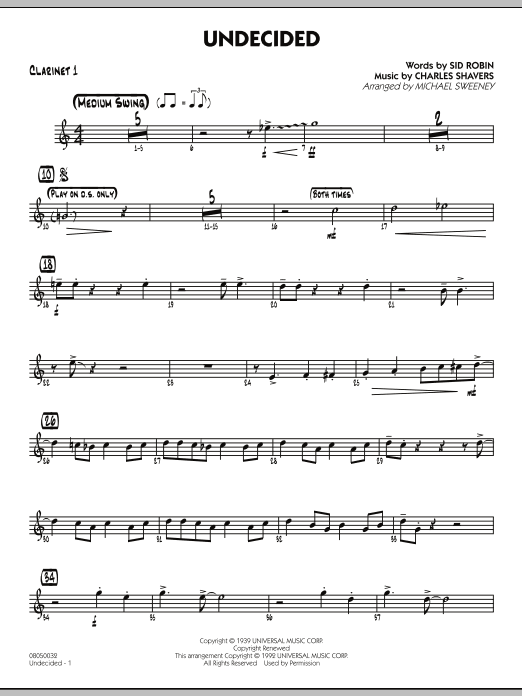 Michael Sweeney Undecided - Bb Clarinet 1 sheet music preview music notes and score for Jazz Ensemble including 2 page(s)