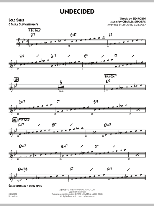 Michael Sweeney Undecided - C Solo Sheet sheet music preview music notes and score for Jazz Ensemble including 2 page(s)
