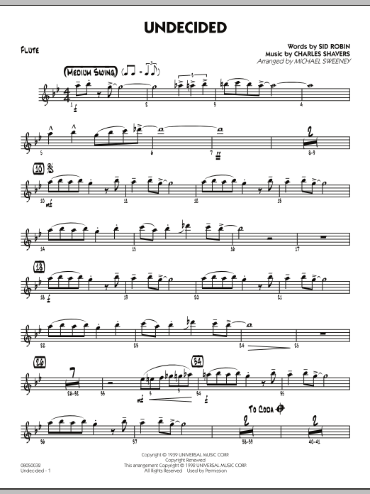 Michael Sweeney Undecided - Flute sheet music preview music notes and score for Jazz Ensemble including 2 page(s)