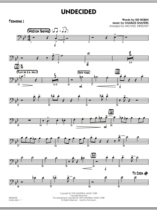 Michael Sweeney Undecided - Trombone 1 sheet music preview music notes and score for Jazz Ensemble including 2 page(s)