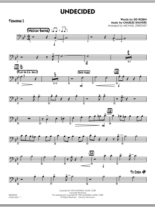 Michael Sweeney Undecided - Trombone 2 sheet music preview music notes and score for Jazz Ensemble including 2 page(s)