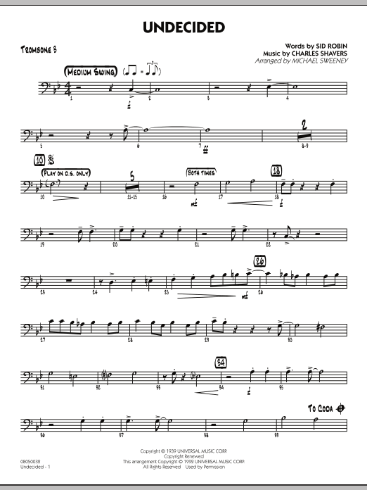 Michael Sweeney Undecided - Trombone 3 sheet music preview music notes and score for Jazz Ensemble including 2 page(s)