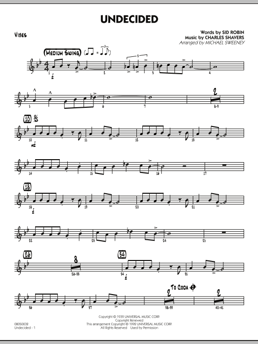 Michael Sweeney Undecided - Vibes sheet music preview music notes and score for Jazz Ensemble including 2 page(s)