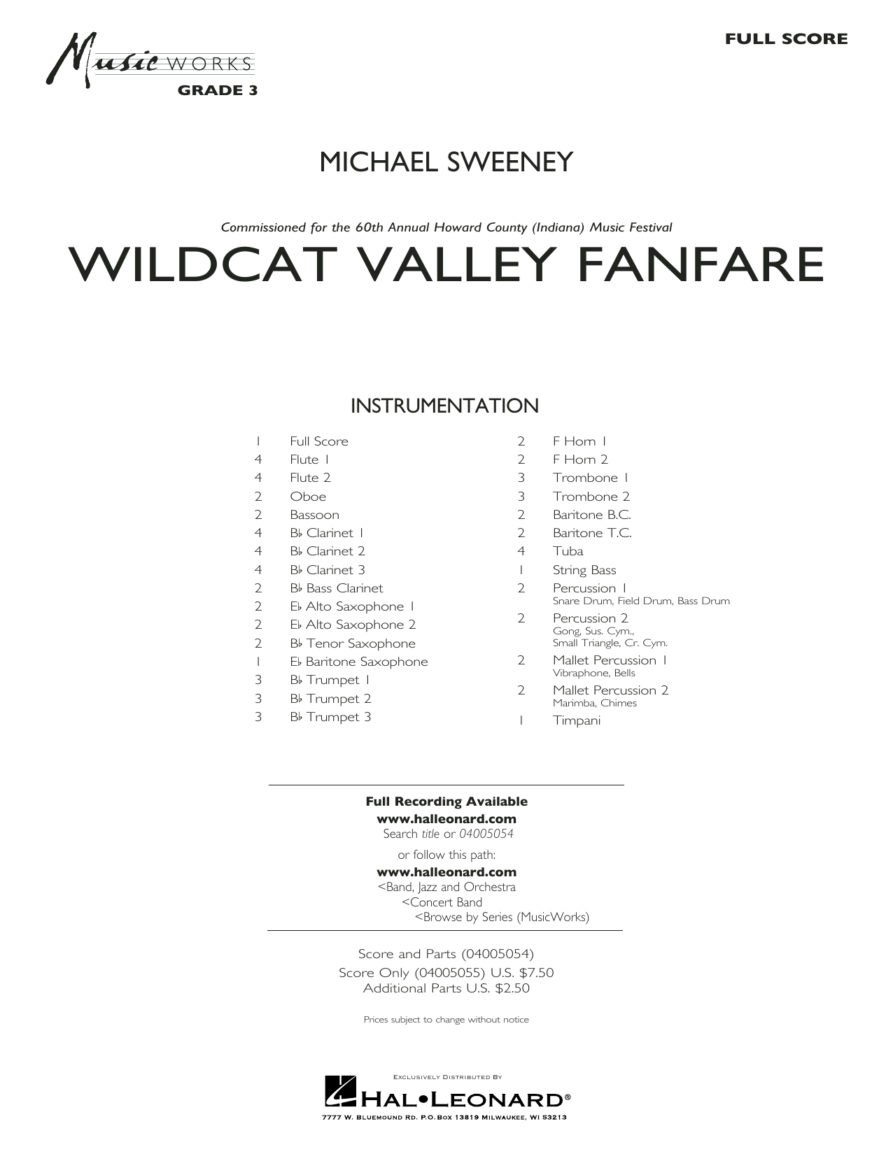 Michael Sweeney Wildcat Valley Fanfare - Conductor Score (Full Score) sheet music preview music notes and score for Concert Band including 20 page(s)