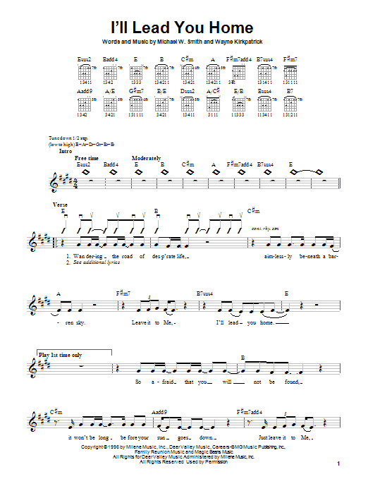 Michael W. Smith I'll Lead You Home sheet music notes and chords