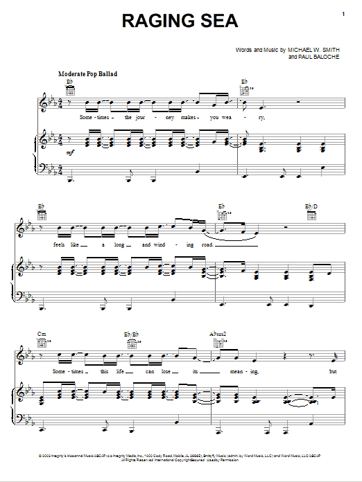Michael W. Smith Raging Sea sheet music notes and chords