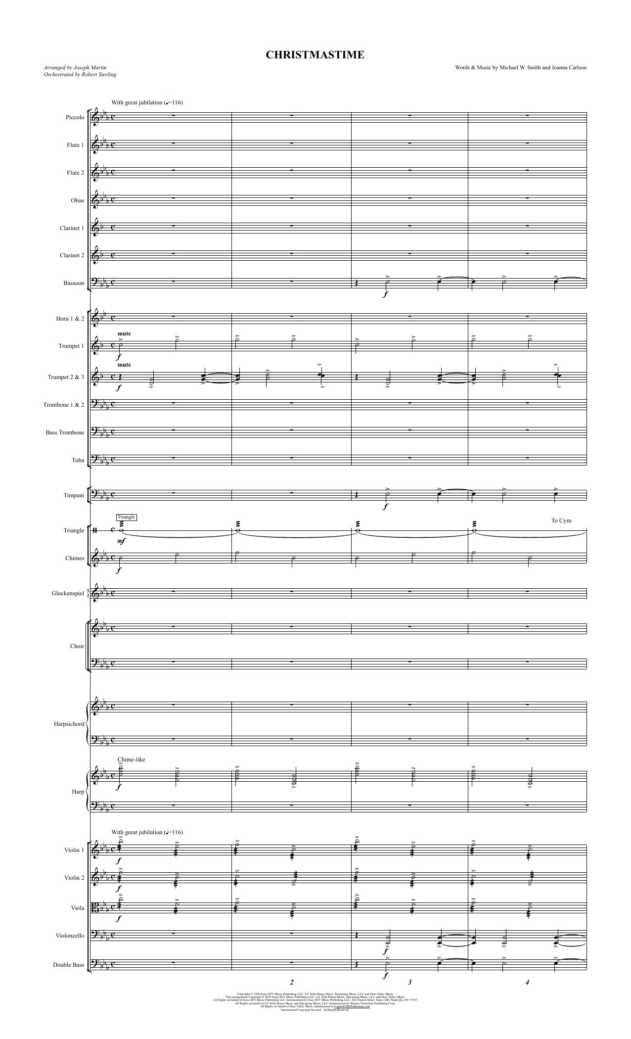 Michael W. Smith & Joanna Carlson Christmastime (arr. Joseph M. Martin) - Full Score sheet music preview music notes and score for Choir Instrumental Pak including 17 page(s)