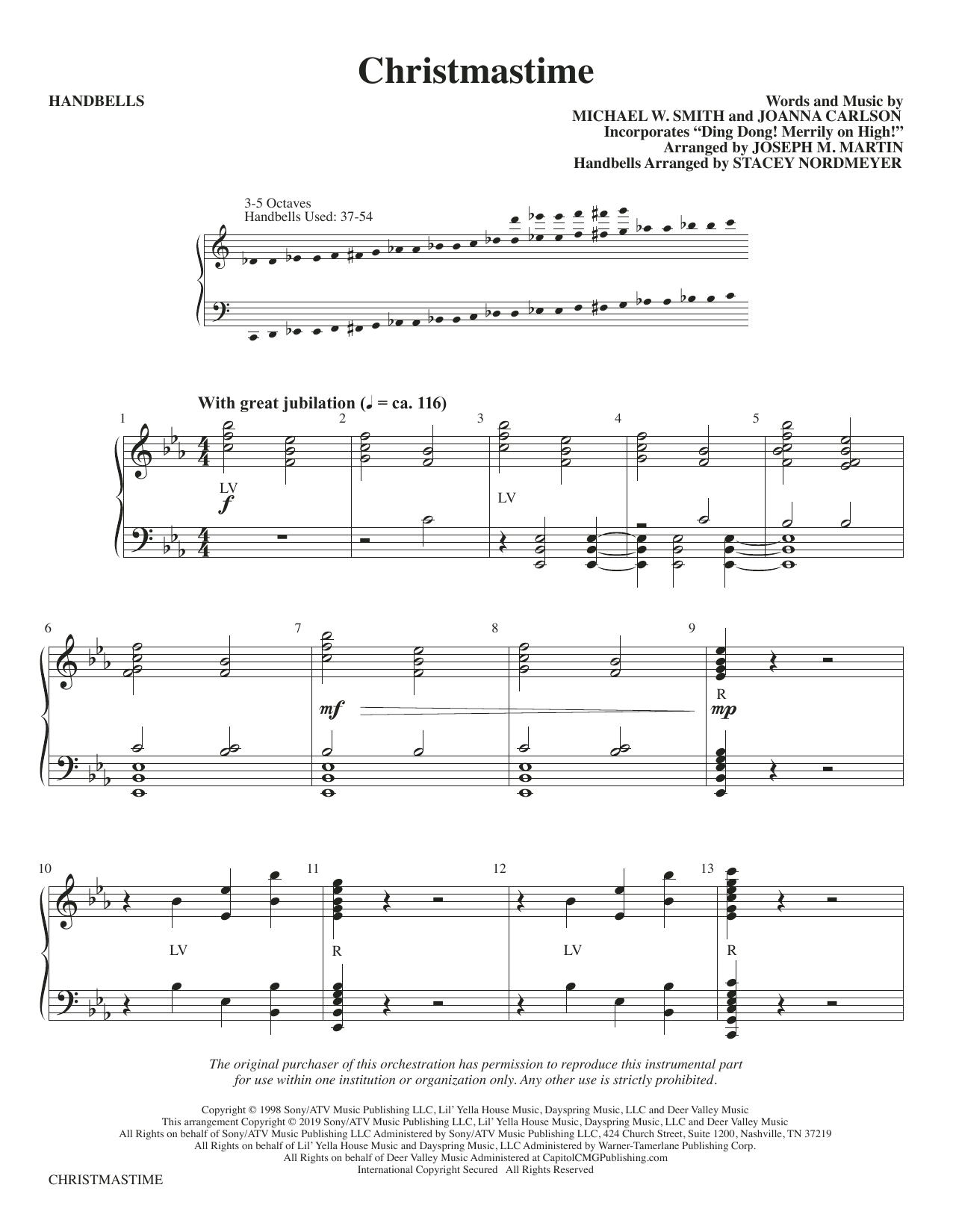 Michael W. Smith & Joanna Carlson Christmastime (arr. Joseph M. Martin) - Handbells sheet music preview music notes and score for Choir Instrumental Pak including 5 page(s)