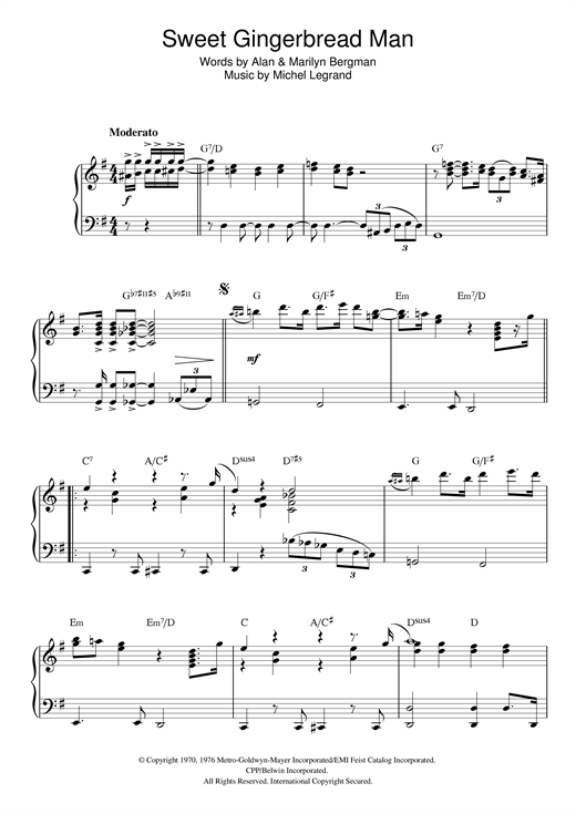 Download Michel Legrand 'Sweet Gingerbread Man' Digital Sheet Music Notes & Chords and start playing in minutes