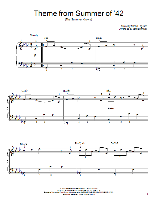 Michel Legrand Theme From Summer Of '42 (The Summer Knows) sheet music preview music notes and score for Easy Piano including 3 page(s)