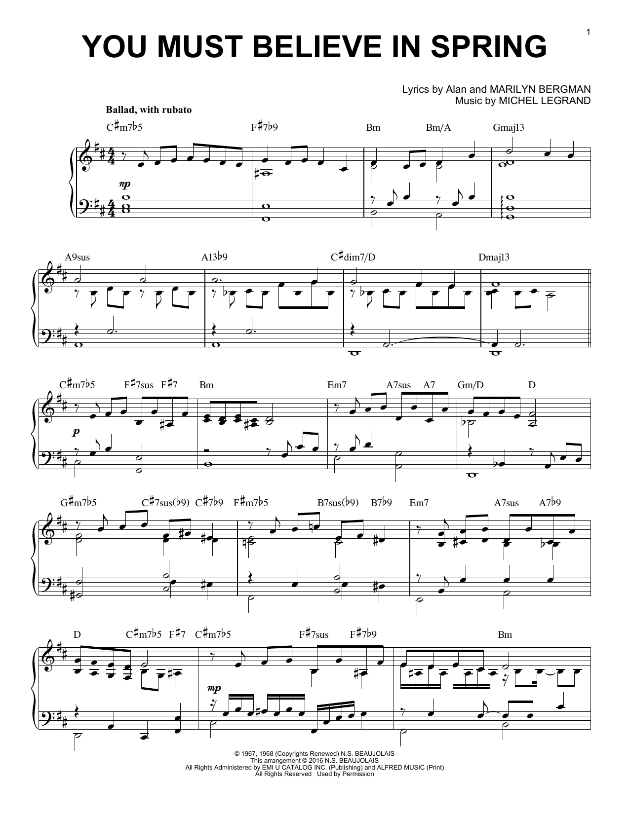 Download Michel Legrand 'You Must Believe In Spring' Digital Sheet Music Notes & Chords and start playing in minutes