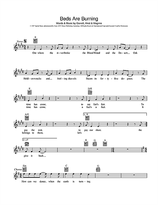 Midnight Oil Beds Are Burning sheet music preview music notes and score for Melody Line, Lyrics & Chords including 2 page(s)