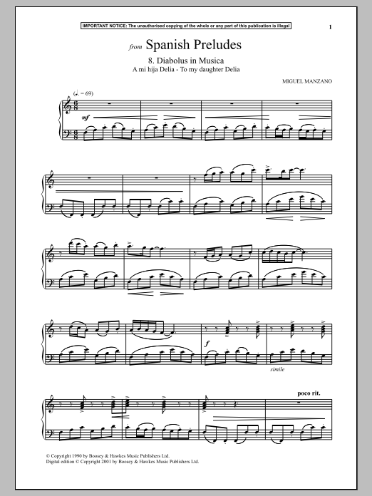 Download Miguel Manzano 'Spanish Preludes, 8. Diabolus In Musica' Digital Sheet Music Notes & Chords and start playing in minutes