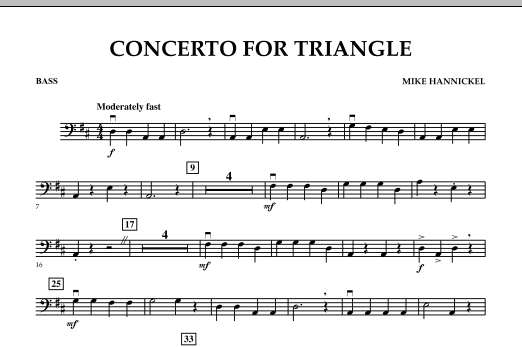 Download Mike Hannickel 'Concerto For Triangle - Bass' Digital Sheet Music Notes & Chords and start playing in minutes