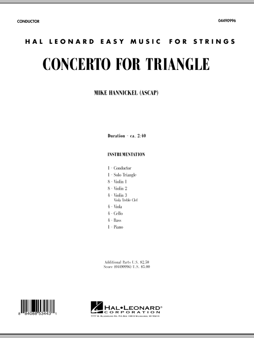 Download Mike Hannickel 'Concerto For Triangle - Full Score' Digital Sheet Music Notes & Chords and start playing in minutes