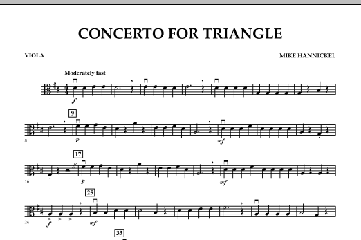 Download Mike Hannickel 'Concerto For Triangle - Viola' Digital Sheet Music Notes & Chords and start playing in minutes