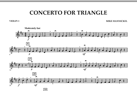 Download Mike Hannickel 'Concerto For Triangle - Violin 1' Digital Sheet Music Notes & Chords and start playing in minutes