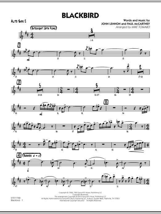 Mike Tomaro Blackbird - Alto Sax 2 sheet music preview music notes and score for Jazz Ensemble including 3 page(s)