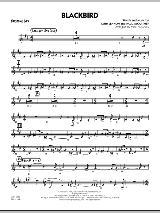 Mike Tomaro Blackbird - Baritone Sax sheet music preview music notes and score for Jazz Ensemble including 3 page(s)