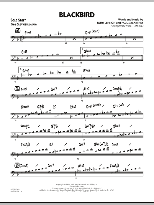 Mike Tomaro Blackbird - Bass Clef Solo Sheet sheet music preview music notes and score for Jazz Ensemble including 2 page(s)