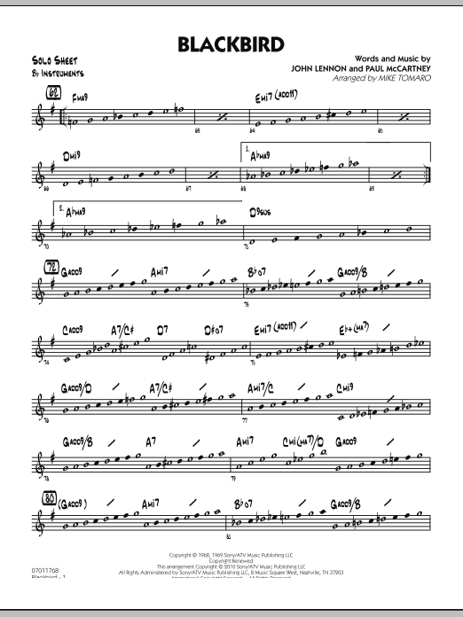 Mike Tomaro Blackbird - Bb Solo Sheet sheet music preview music notes and score for Jazz Ensemble including 2 page(s)
