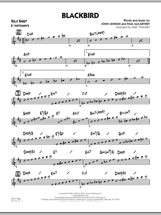 Mike Tomaro Blackbird - Eb Solo Sheet sheet music preview music notes and score for Jazz Ensemble including 2 page(s)