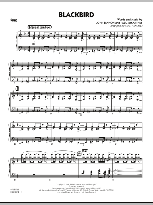Mike Tomaro Blackbird - Piano sheet music preview music notes and score for Jazz Ensemble including 7 page(s)