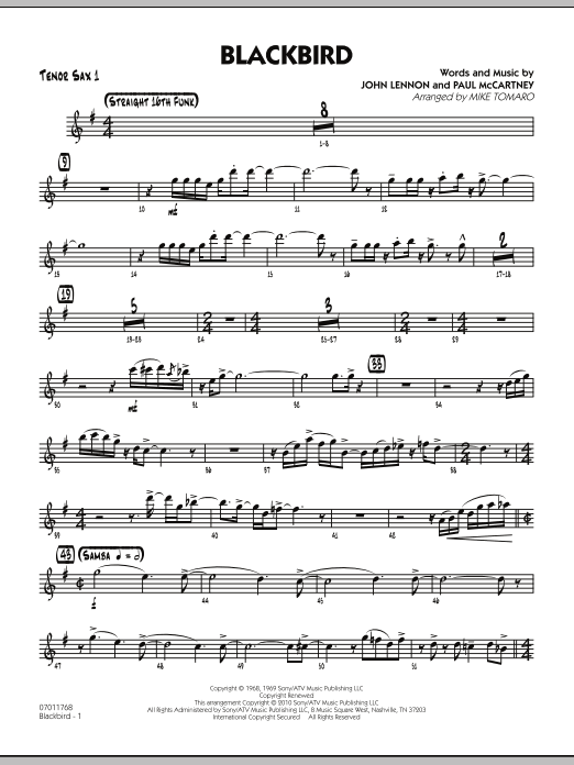 Mike Tomaro Blackbird - Tenor Sax 1 sheet music preview music notes and score for Jazz Ensemble including 3 page(s)