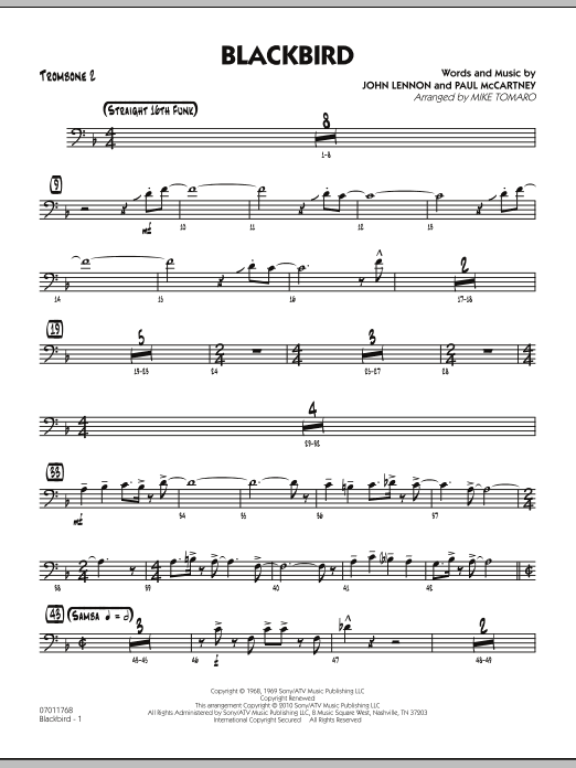 Mike Tomaro Blackbird - Trombone 2 sheet music preview music notes and score for Jazz Ensemble including 3 page(s)