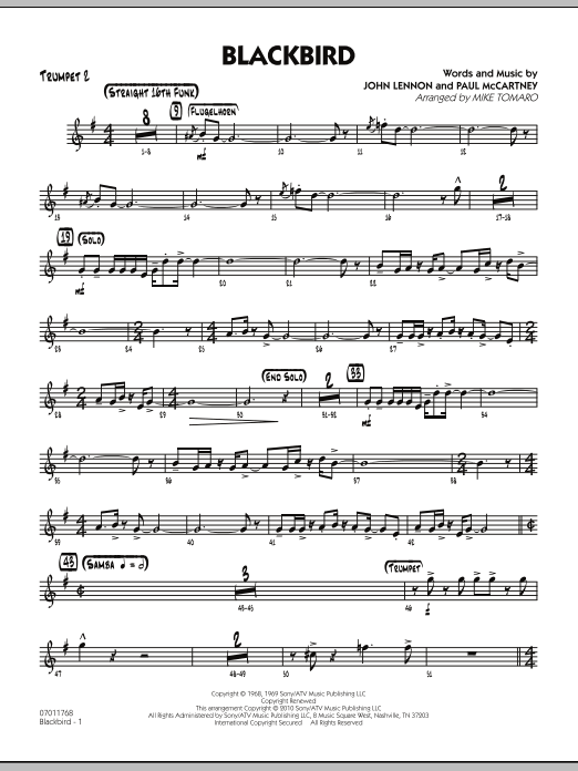 Mike Tomaro Blackbird - Trumpet 2 sheet music preview music notes and score for Jazz Ensemble including 3 page(s)