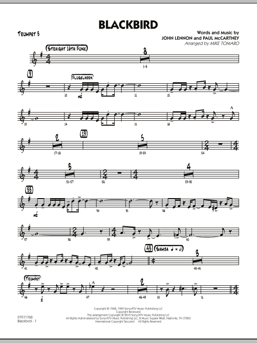 Mike Tomaro Blackbird - Trumpet 3 sheet music preview music notes and score for Jazz Ensemble including 3 page(s)